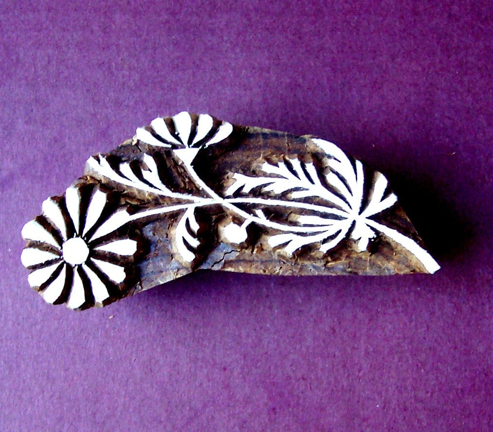 Daisy flowe hand carved wood stamp clay textile indian