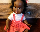 1968 Shindana African American Doll – Baby Nancy – Red Dotted Jumper