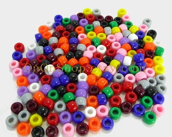 720 Pony Beads, 11 colors, Darice Big Value Craft Designer 6x9mm pony beads