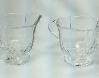 Vintage Crystal Glass Sugar Bowl and Creamer Set w Feather Print Wedding Formal Anniversary Decorative
