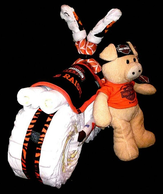 boy harley davidson and flame design diaper cake tricycle motorcycle