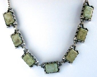 Green Bead Necklace - Square Beads - Olive Green - Vintage Necklace