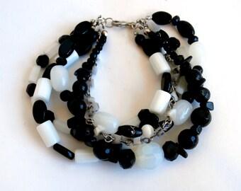 Black and White Bracelet - Repurposed Jewelry - Multistrand Bracelet