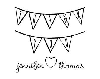 """Thank You Bunting Stamp, personalized names stamp, card and party favours stamp, special thank you, 2""""x2"""" (cts52)"""