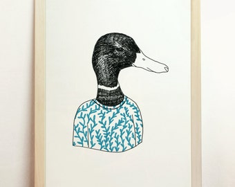 Duck Print Original Art Farm Lake Nursery Turquoise Vintage Retro Living Decor Black Draw Unique Poster Bird Decorative