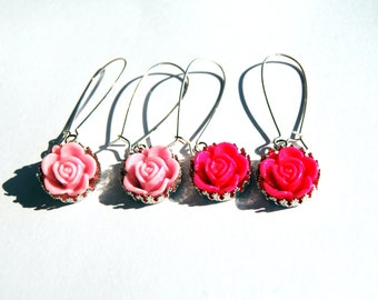 Vintage Style Garden Floral Dangle Earrings - Shabby Chic, Cottage Chic