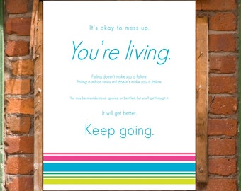 Keep Going Motivational Art Print Printable Wall Decor INSTANT DOWNLOAD