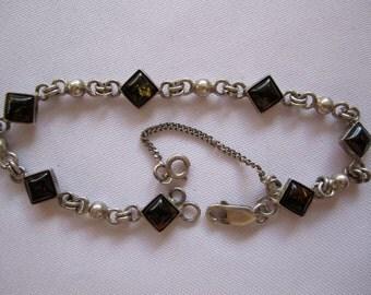 VTG 925 Sterling Silver Honey Baltic Amber bracelet