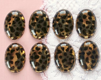 8 Pcs Oval Cheetah Print Cameo Cabochons - 25x18mm