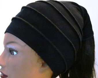 "Black 4 way stretch Slinky fabric ''Slinky Loc"" ( The feel good hat )"