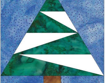 Pine Tree Paper Piece Foundation Quilting Block Pattern