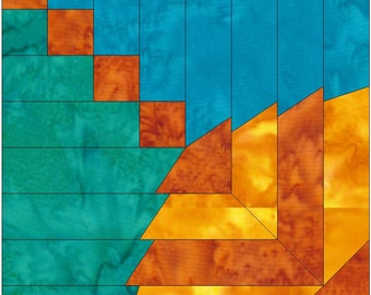 Round Log Cabin Paper Piece Foundation Quilting Block Pattern