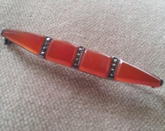 Vintage Sterling Marcasite Carnelian Brooch Pin, Art Deco Carnelian Brooch Pin Germany