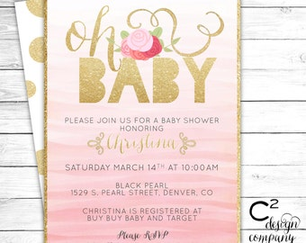 Oh Baby! Pink & Gold Shower Invitation