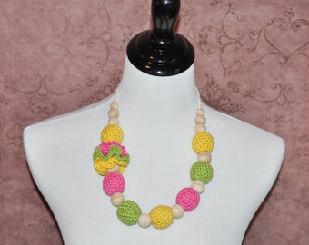 Teething Necklace -Yellow, Pink, and Green - Nursing