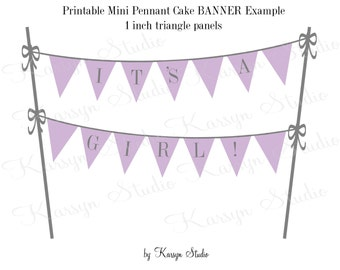 SALE Cake Banner {PRINTABLE}-It's a Girl, Instant Download, Purple, Gray, Baby Shower, DIY, Triangle, Pennant, Bunting, Lavender, Topper