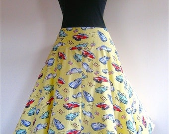 Circular Skirt on a Yoke in 50's Drive In fabric, from Bird of Paradise Clothing.