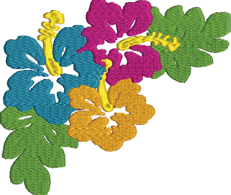 Hibiscus hawaiian flowers embroidery design file vip vp