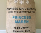 Christmas Santa bag sack,  Express Mail Service with Snowflakes, Personalized with name for your ice princess