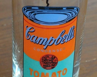 Vintage Orange ANDY WARHOL Pop Art Campbell's Soup Drinking Glass