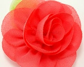 Red rose fabric flower - Rosette flower for headbands - Wedding hair clip flower - Wholesale chiffon flowers, Small rose flowers