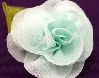 Light mint rose fabric flower - Rosette flower for headbands - Wedding hair clip flower - Wholesale chiffon flowers, Small rose flowers