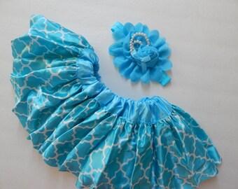 Baby Girl's Pettiskirt, Matching Headband, Aqua Blue Quatrefoil Pettiskirt, 6-12m,baby's 1st birthday outfit, skirts,baby girls,Easter Skirt