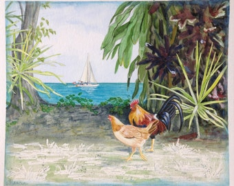 """Watercolor tropical landscape painting, """"Strolling & Sailing""""  Original Chicken painting, 9x11"""