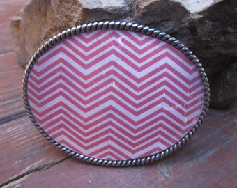 Antique silver red and tan chevron  bohemian hippie gypsy  custom oval belt buckle