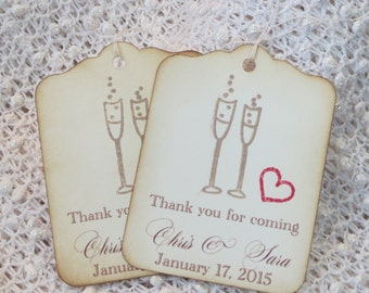 Custom wedding tags, Wedding favor tags with Champagne glasses, Wedding gift tag, Personalized wedding favor tags, wedding thank you tag