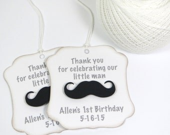 Little man party favor tags, Little Man baby shower tags, Mustache thank you tags, Little Man birthday favor tags, Little man first birthday