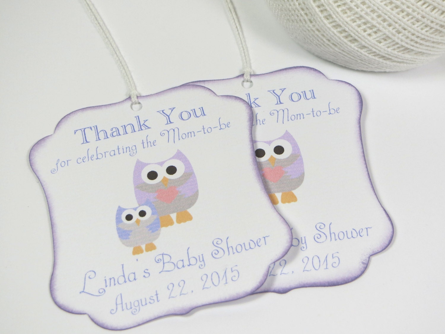 owl baby shower favor tags purple baby shower by wildsugarberries