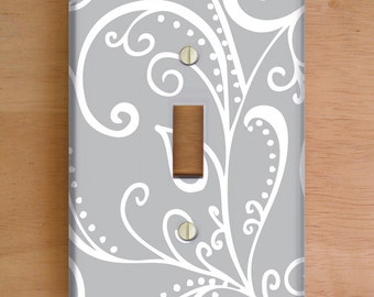 Silent Era, Gray Vinyl Light Switch Cover, Outlet Cover, Wallplate, Home Decor, Swirls, Gray and White, Gray Home Decor, Swirls