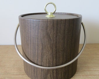 Mid Century Modern Ice Bucket Faux Wood with Brass Colored Handle