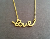 Love, Script, Gold, Necklace, Love, Jewelry, Best, Gift, For, Your friends, Lover, Best friends, Birthday, Mother, Accessory, Jewelry