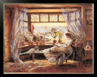 Reading By The Window By Charles James Lewis Counted Cross Stitch Pattern PDF