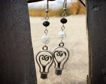 Black Crystal Silver Lightbulb Earrings