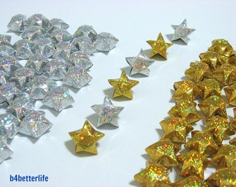 70pcs Big Size Gold SILVER Color Origami Lucky Stars. (4D Glittering Paper Series). #FOS-21.