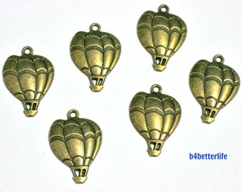"Lot of 24pcs Antique Bronze Tone ""Hot Air Balloon"" Metal Charms. #BC3816."