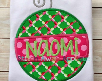 Christmas Holiday Ornament Machine Applique Design