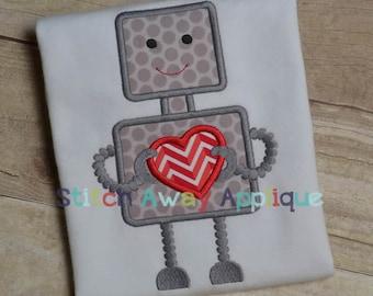 Valentine Boy Robot Machine Applique Design