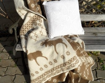 Scandinavian Pure New wool throw blanket Reindeer 130x200cm brown white 51x78 inches