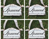 Set of 4 reserved signs for parents of bride and groom