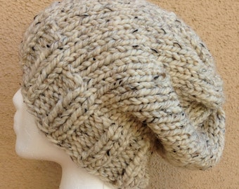 Chunky Knit Hat in Oatmeal, Unisex Slouchy Knit Hat, Super Chunky Knit Beanie, Chunky Slouch Hat, Gift for Her, Gift for Him *Ready To Ship*