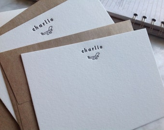 Personalized letterpress stationery - charlie - Set of 25 cards & envelopes