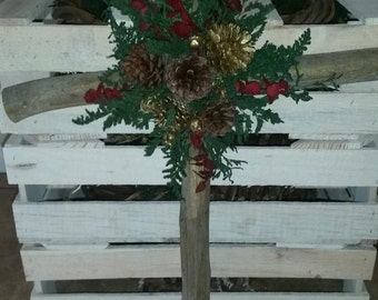 Handmade Natural Pine Christmas Cross Decoration Holiday. ( 1 PC)