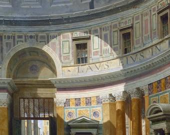 Interior of the Pantheon Rome, 18th Century Italian Oil Painting Print