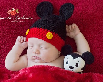 Newborn Mickey Mouse Beanie - Mickey Mouse Hat - Photography Prop