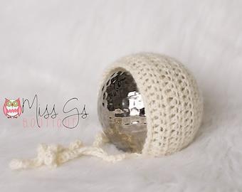 Cream Mohair Newborn Bonnet - Photography Prop