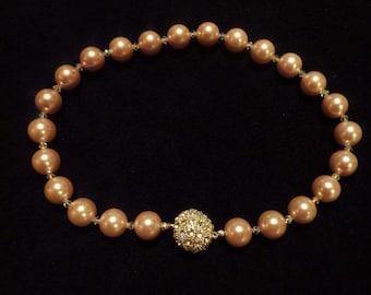 "BEEutiful Swarovski Chunky Pearl Wedding Necklace -- ""Julie"" colors"